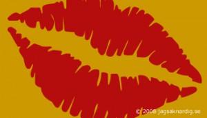röda pussläppar på orangebrun bakgrund